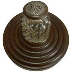 Antique English Novelty Inkwell, Owl, circa 1890