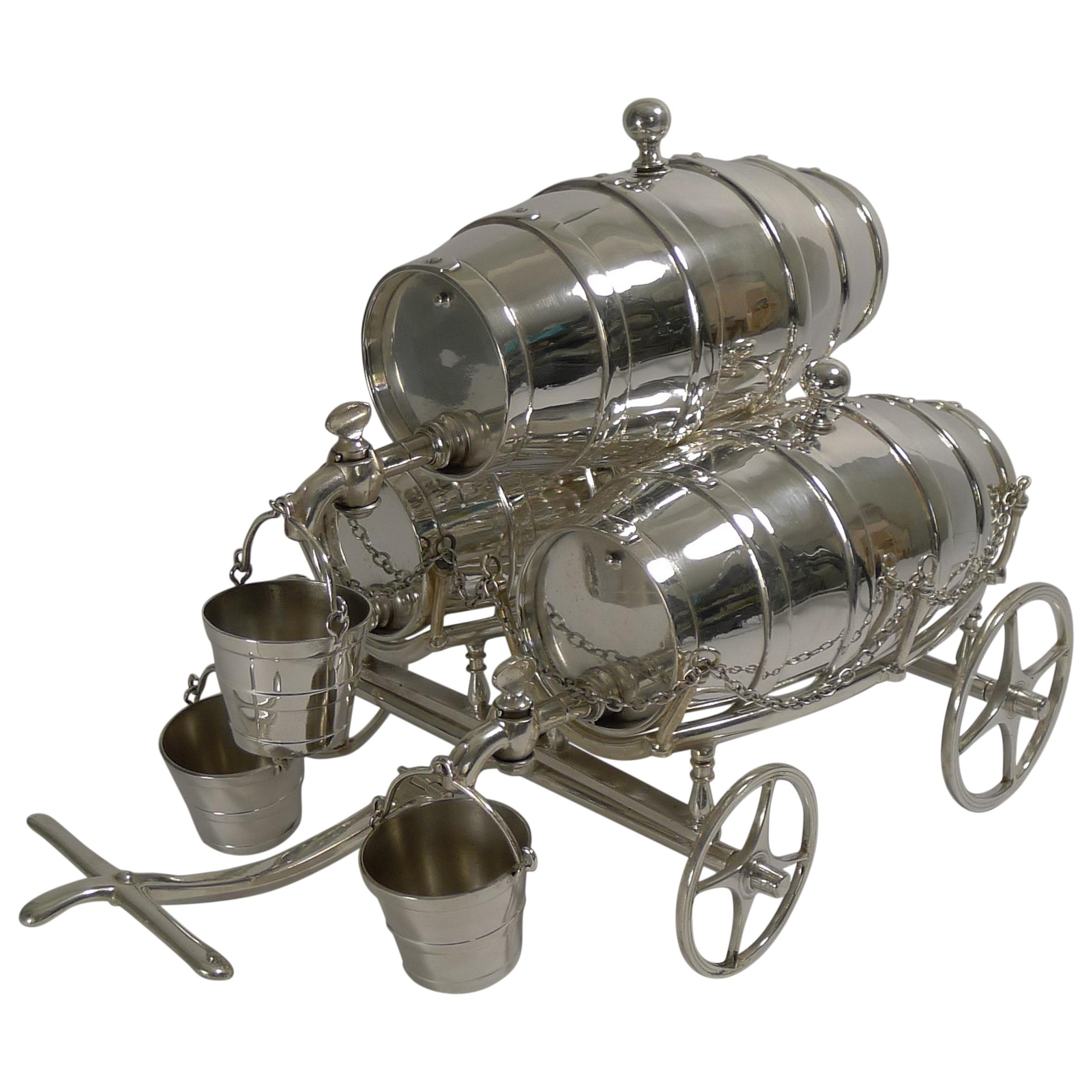 Antique English Novelty Triple Spirit Barrel, Reg. 1863