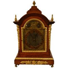 Antique English Oak and Brass Bracket Chiming Clock