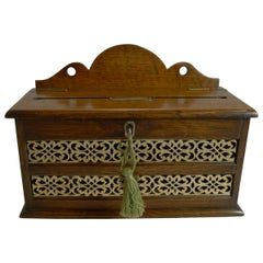 Antique English Oak and Brass Letters Box, circa 1890