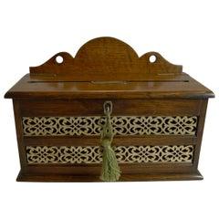 Antique English Oak and Brass Letters Box, circa 1890
