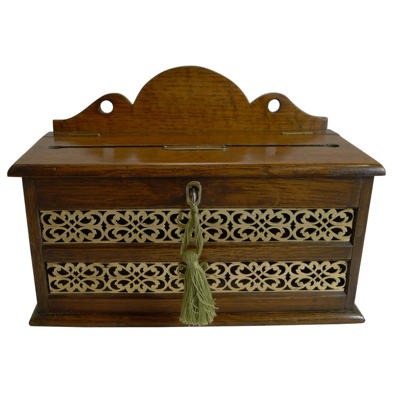 Antique English Oak and Brass Letters Box, circa 1890 For Sale