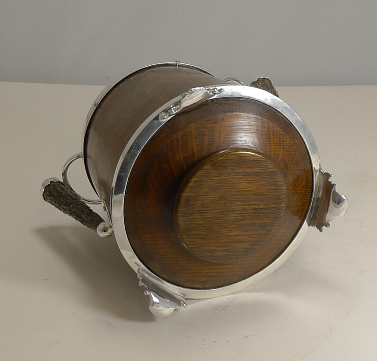 Antique English Oak and Silver Plate Biscuit Box / Barrel circa 1900, Squirrel For Sale 5