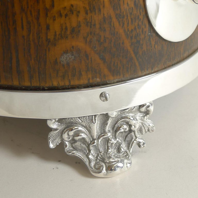 Late Victorian Antique English Oak and Silver Plate Biscuit Box / Barrel circa 1900, Squirrel For Sale