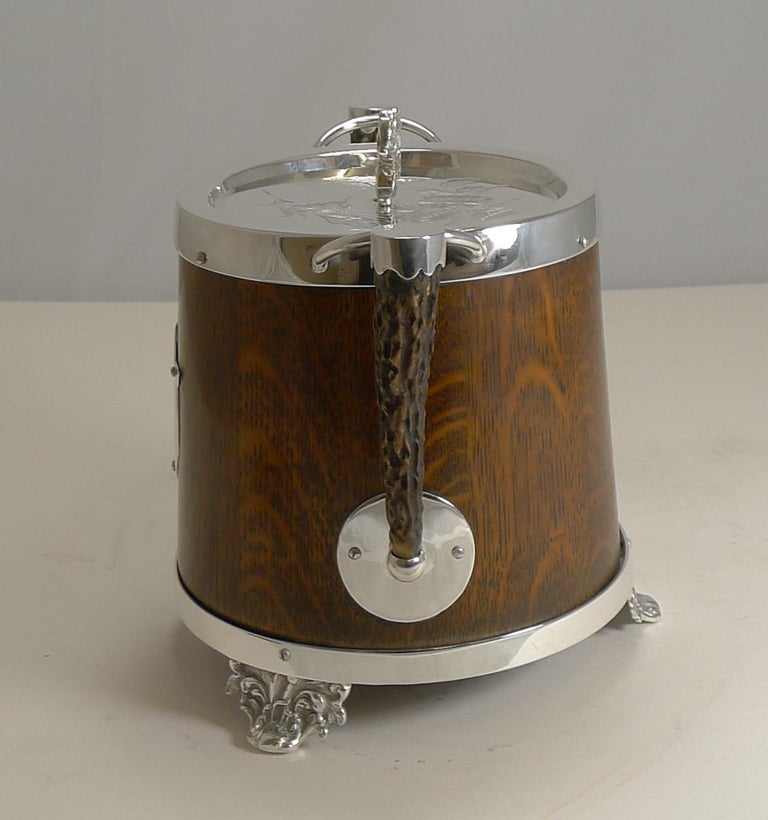 Early 20th Century Antique English Oak and Silver Plate Biscuit Box / Barrel circa 1900, Squirrel For Sale