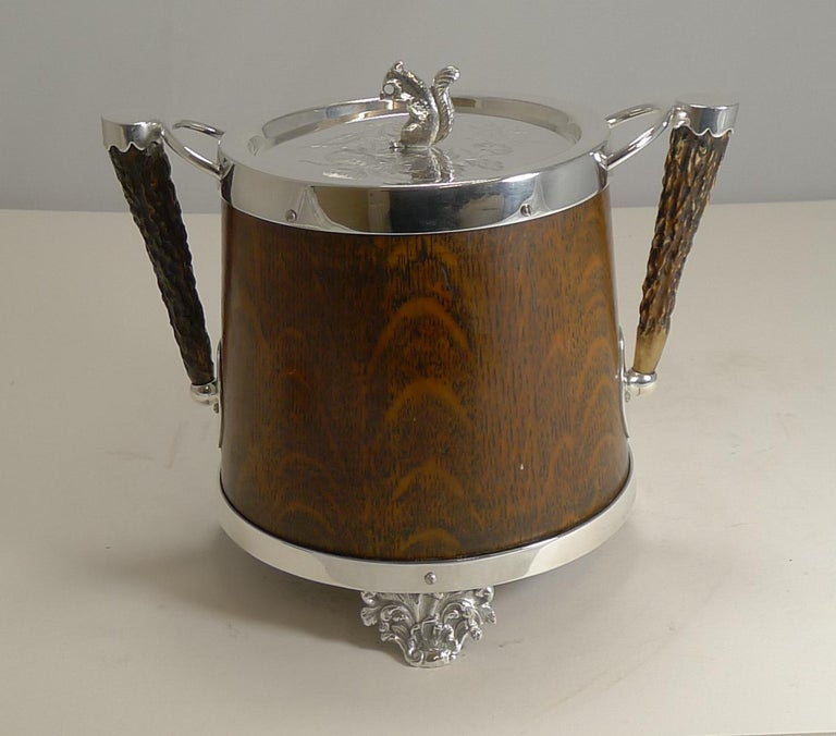 Antique English Oak and Silver Plate Biscuit Box / Barrel circa 1900, Squirrel For Sale 1