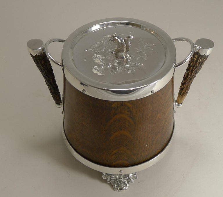 Antique English Oak and Silver Plate Biscuit Box / Barrel circa 1900, Squirrel For Sale 2