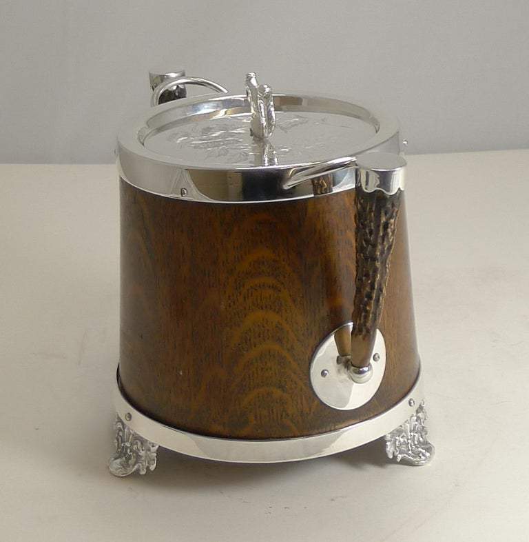 Antique English Oak and Silver Plate Biscuit Box / Barrel circa 1900, Squirrel For Sale 3