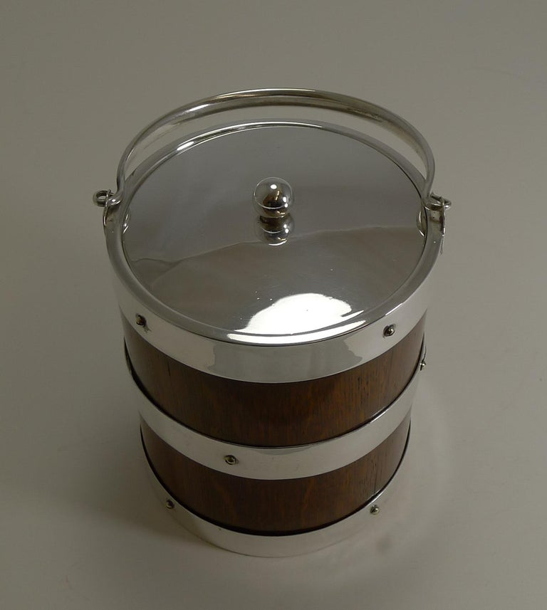 Late Victorian Antique English Oak and Silver Plate Biscuit Box / Ice Bucket, circa 1900 For Sale