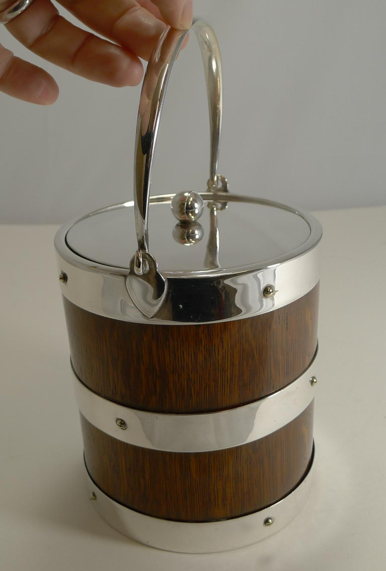 Late 19th Century Antique English Oak and Silver Plate Biscuit Box / Ice Bucket, circa 1900 For Sale