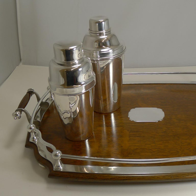 20th Century Antique English Oak and Silver Plate Drinks / Cocktail Tray, circa 1900 For Sale