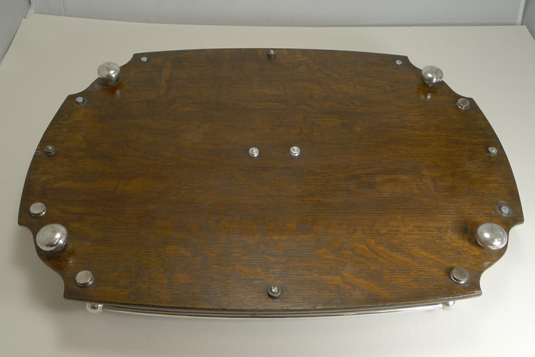 Antique English Oak and Silver Plate Drinks / Cocktail Tray, circa 1900 For Sale 1