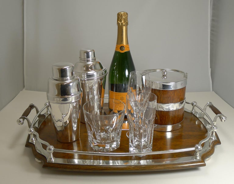 Antique English Oak and Silver Plate Drinks / Cocktail Tray, circa 1900 For Sale 2