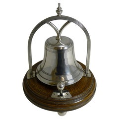Antique English Oak and Silver Plate Mechanical Desk Bell, circa 1890