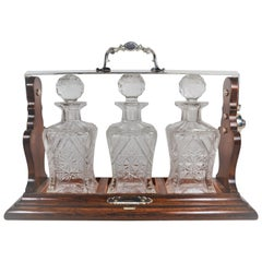 Antique English Oak and Silver Three Bottle Tantalus