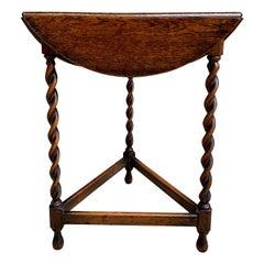 Antique English Oak Barley Twist Envelope Handkerchief Drop Leaf Corner Table