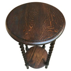 Antique English Oak Barley Twist Round Plant Stand Display Two-Tier Table