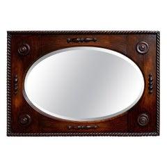 Antique English Oak Beveled Wall Mirror Barley Twist Frame Oval, circa 1900
