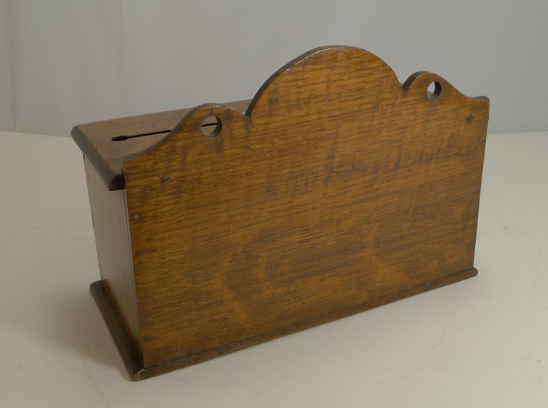 Late 19th Century Antique English Oak and Brass Letters Box, circa 1890 For Sale