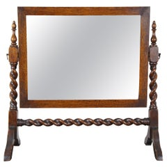 Antique English Oak Cheval Barley Twist Dresser Top Shaving Vanity Mirror