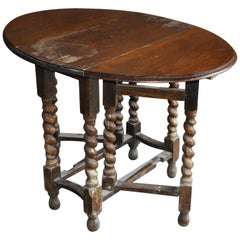 Antique English Oak Drop Leaf Dining Table, Rustic Gate Leg Table, 19th Century