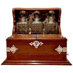 Antique English Oak Games Box Tantalus, circa 1890