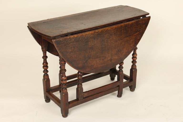Jacobean Antique English Oak Gate Leg Table For Sale