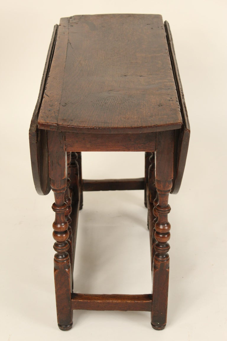 Iron Antique English Oak Gate Leg Table For Sale