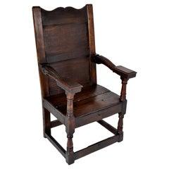 Antique English Oak Jacobean Commonwealth Period Wainscot Armchair, circa 1650