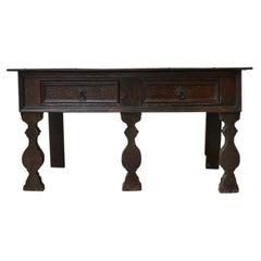 Antique English Oak Low Sideboard