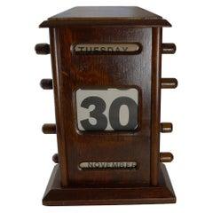 Antique English Oak Perpetual Calendar, c.1910