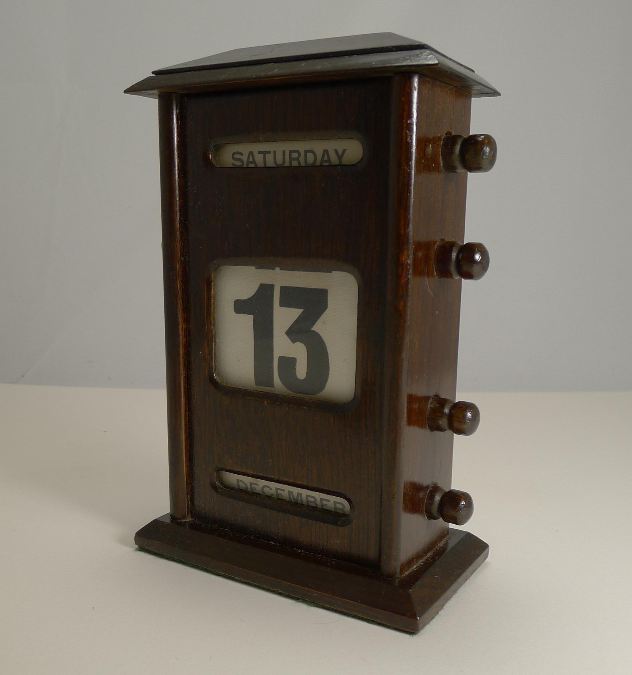 Antique English Oak Perpetual Desk Calendar Circa 1900 Signed By