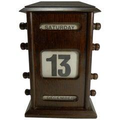 Antique English Oak Perpetual Desk Calendar, circa 1900 - Signed by Retailer