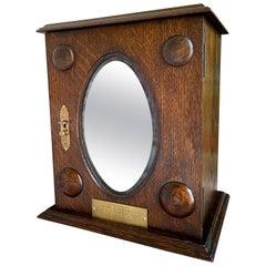 Antique English Oak Pipe Smoke Cabinet Card Game Box Humidor 1928 Opera Glass