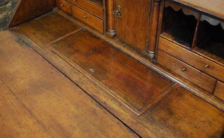 Antique English Oak Queen Anne Slant-Front Desk For Sale 4