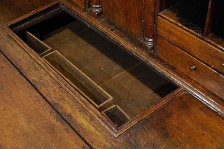 Antique English Oak Queen Anne Slant-Front Desk For Sale 5