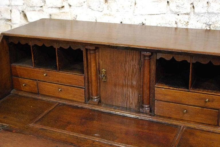 Antique English Oak Queen Anne Slant-Front Desk For Sale 6