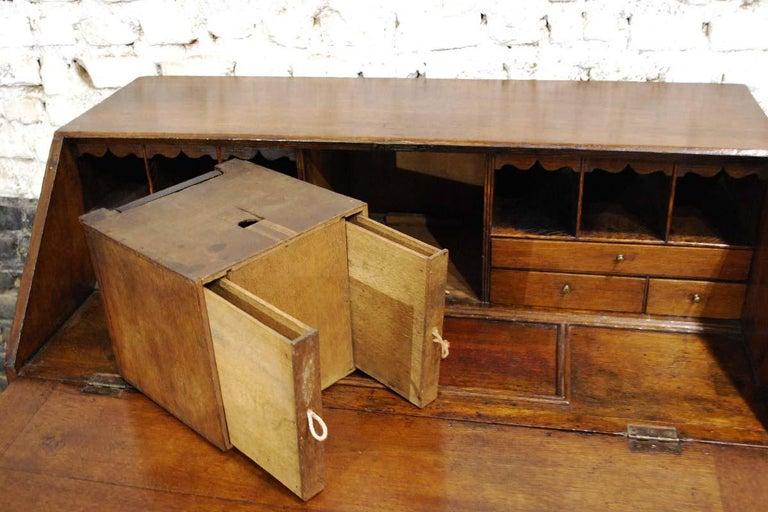 Antique English Oak Queen Anne Slant-Front Desk For Sale 8