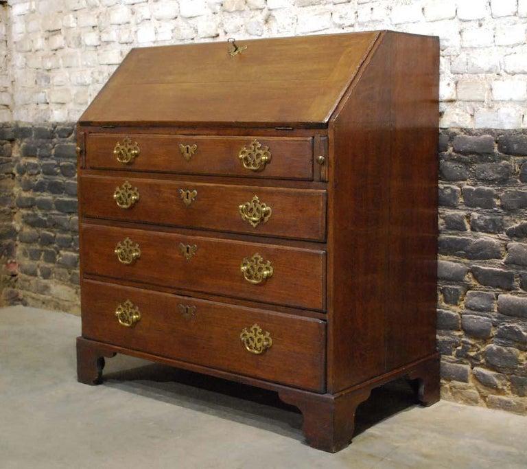 18th Century Antique English Oak Queen Anne Slant-Front Desk For Sale
