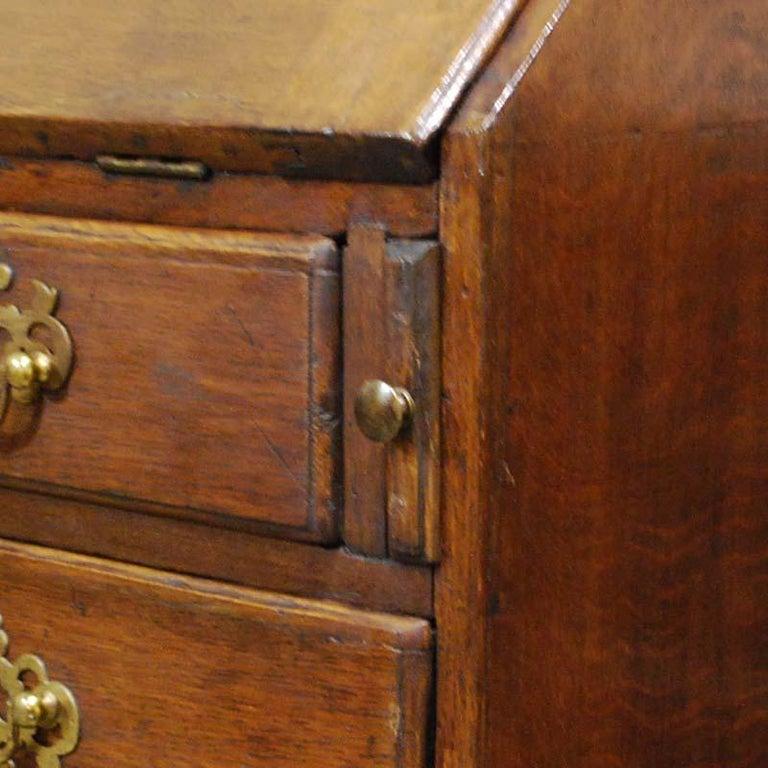 Brass Antique English Oak Queen Anne Slant-Front Desk For Sale