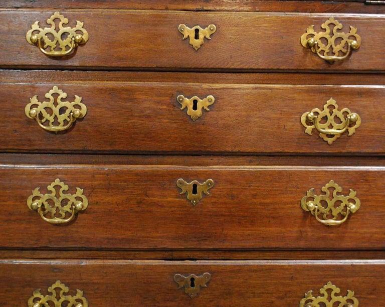 Antique English Oak Queen Anne Slant-Front Desk For Sale 1