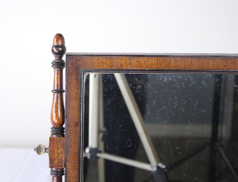 Antique English Oak Shaving Mirror For Sale 1