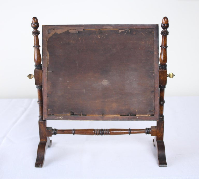Antique English Oak Shaving Mirror For Sale 2