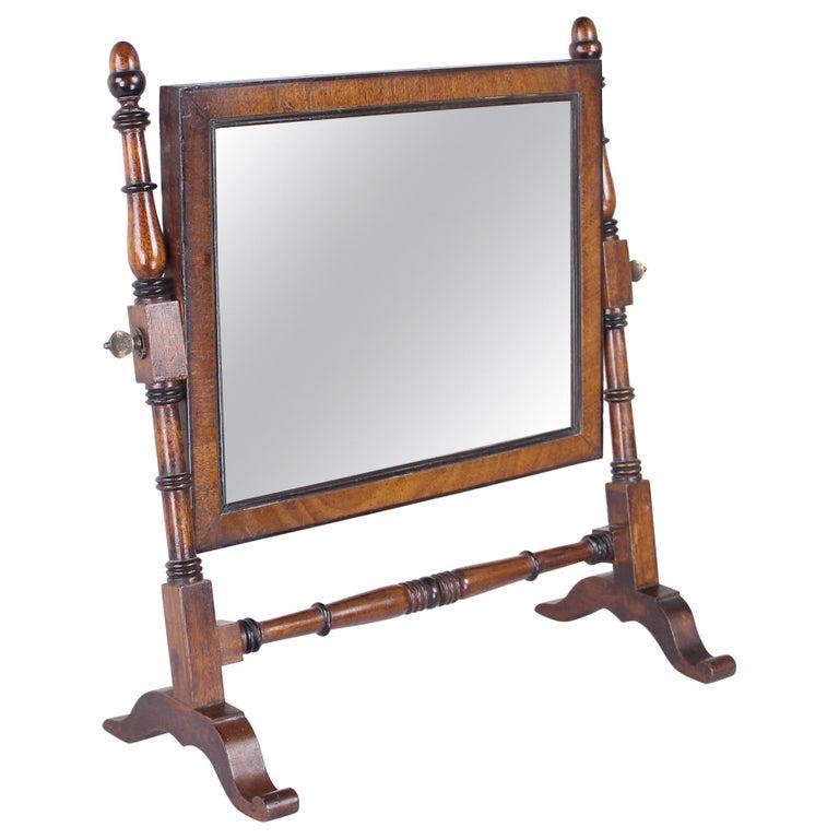 Antique English Oak Shaving Mirror For Sale