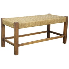 Antique English Oak String Stool with Straight Legs