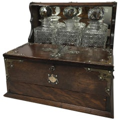 Antique English Oak Tantalus, Late 1800s