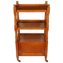 Antique English Oak Three-Tier Étagère on Casters