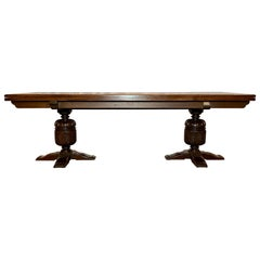 Antique English Oak Trestle Table