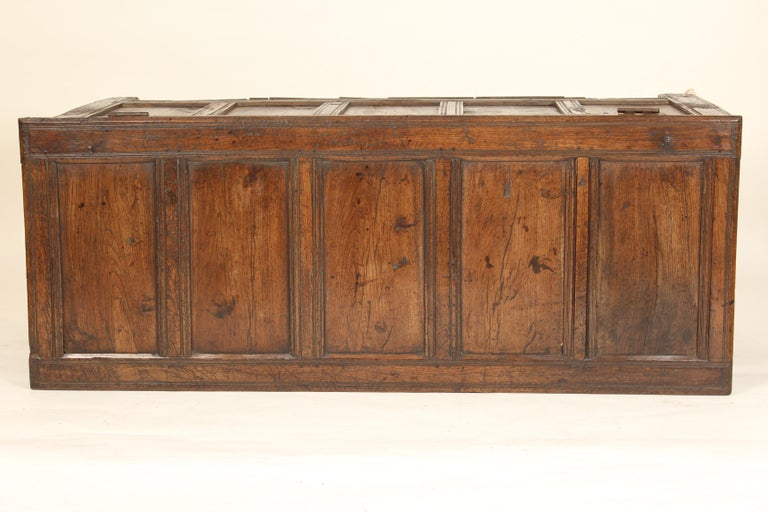 Antique English Oak Trunk For Sale 5