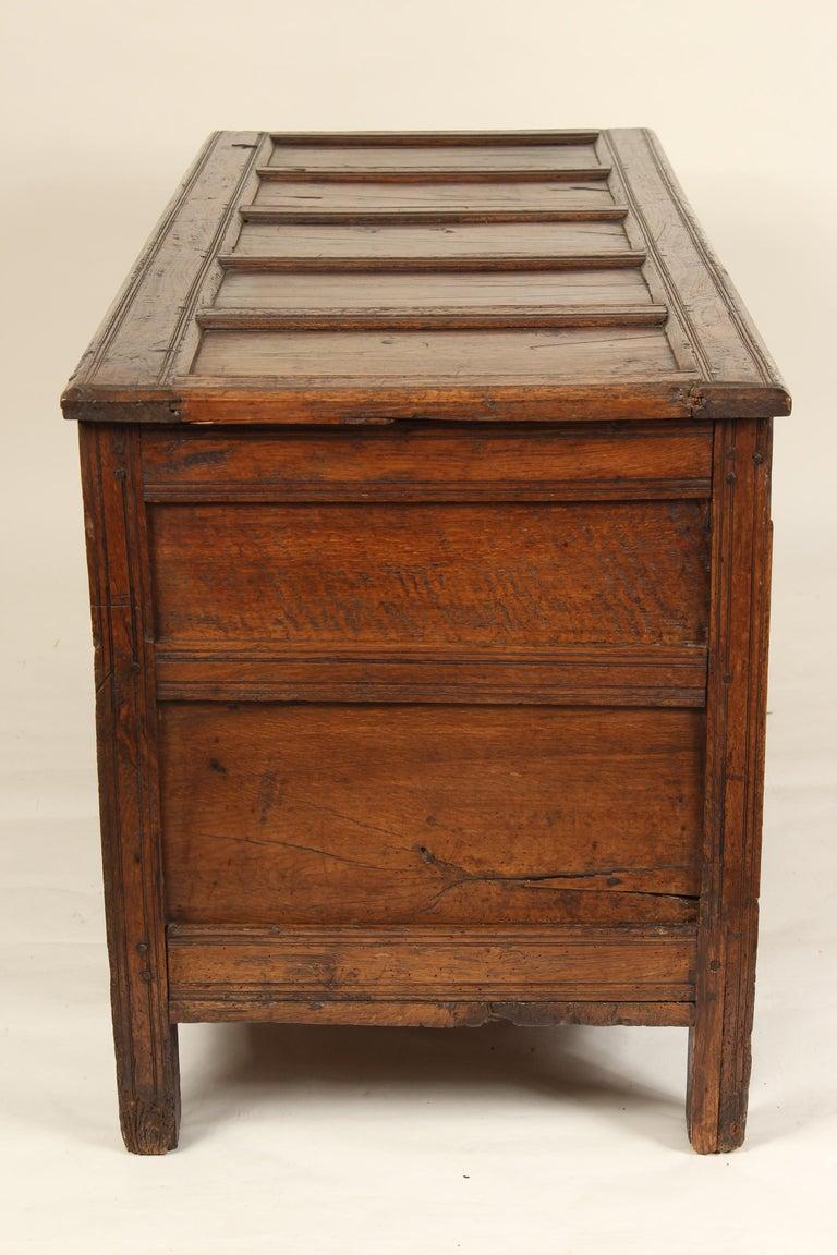 Antique English Oak Trunk For Sale 6